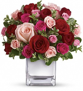 Teleflora's Love Medley Bouquet with Red Roses in The Woodlands TX, Rainforest Flowers