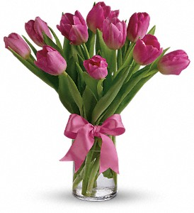 Precious Pink Tulips in Oakland MD, Green Acres Flower Basket