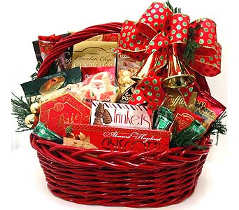 XGF139 ''Christmas Bells are Ringing'' Gourmet Basket in Oklahoma City OK, Array of Flowers & Gifts