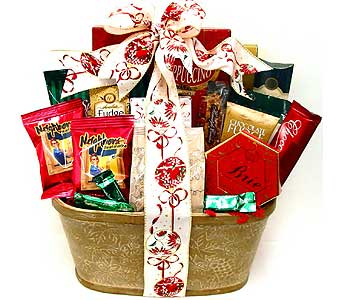 XGF137 ''All Tied Up'' Christmas Gourmet Food Basket in Oklahoma City OK, Array of Flowers & Gifts