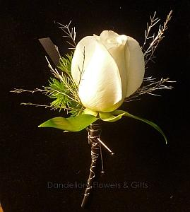 Black Tie Boutonniere in Eugene OR, Dandelions Flowers