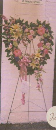Standing Open Heart with mixed flowers in Mineola NY, East Williston Florist, Inc.