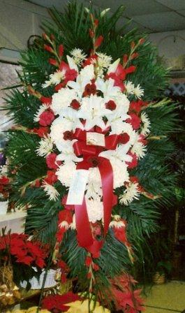 Funeral Spray - red and white in Mineola NY, East Williston Florist, Inc.