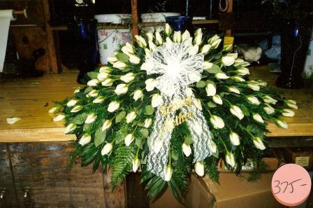 White Rose Casket Spray in Mineola NY, East Williston Florist, Inc.