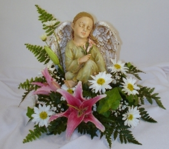 Angel with Lily & flowers in Covington KY, Jackson Florist, Inc.