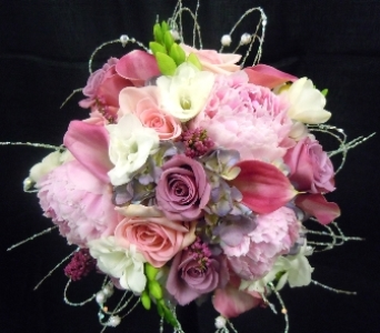 Elegant Pink and Lavender Wedding Bouquet in Portland ME, Dodge The Florist
