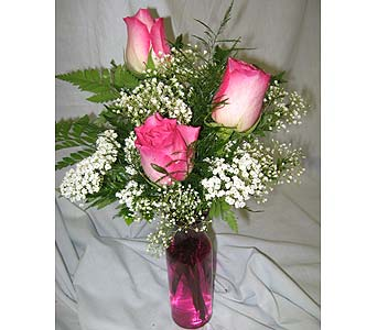 TRIPLE VERIGATED ROSES in New Paltz NY, The Colonial Flower Shop