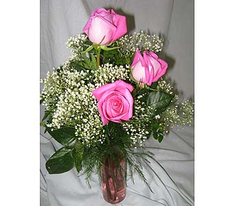 TRIPLE PINK ROSE VASE in New Paltz NY, The Colonial Flower Shop