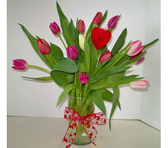 Hearts and Tulips Vase in Falmouth MA, Falmouth Florist 508-540-2020