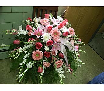 Casket Spray-Pink and White in Chicago IL, Soukal Floral Co. & Greenhouses
