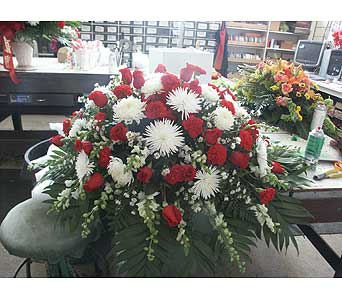 Casket Spray-Red and White in Chicago IL, Soukal Floral Co. & Greenhouses