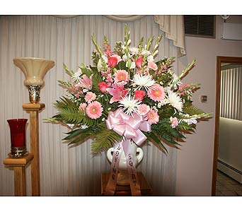 Sympathy Basket-Pink and White with Roses in Chicago IL, Soukal Floral Co. & Greenhouses
