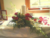 Unity Candle in Reds and Whites in Waukegan IL, Larsen Florist