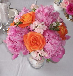 Peony and Rose Bowl in Waukegan IL, Larsen Florist