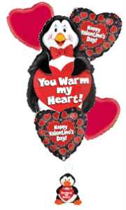 Warm My Heart Balloon Bouquet With Tux Penguin in Yakima WA, The Blossom Shop