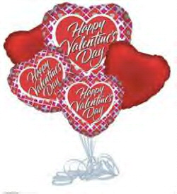 Happy Valentines Day Silver Hearts Balloon Bouquet in Yakima WA, The Blossom Shop