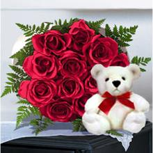 Dozen Roses Bouqet with Cute Bear in Cote St-Luc QC, Fleuriste Fleurissimo