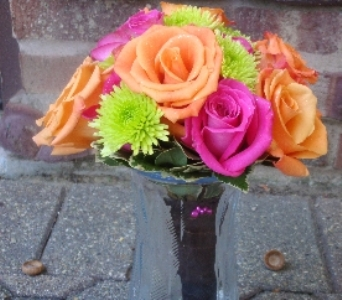 Bouquet hot pink roses and orange roses with green in Chicago IL, The Flower Cottage