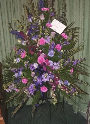 Purple Radiance Standing Spray in Salisbury MD, Kitty's Flowers