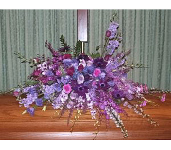 Purple Radiance Casket Spray in Salisbury MD, Kitty's Flowers