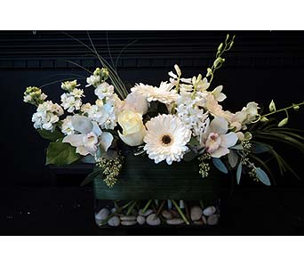 Classic Whites & Greens in low rectangular vase in South Surrey BC, EH Florist Inc