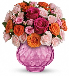 Teleflora's Sweet Fire Bouquet with Roses in Austintown OH, Crystal Vase Florist