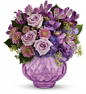 Teleflora's Lush and Lavender with Roses in Grand Prairie TX, Deb's Flowers, Baskets & Stuff