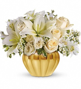 Teleflora's Touch of Gold in Dubuque IA, New White Florist