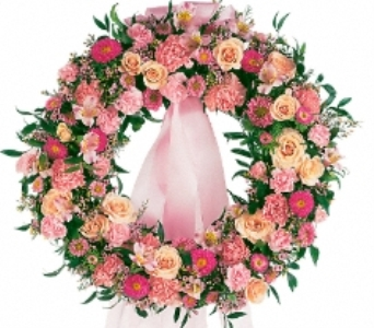 Respectful Pink Wreath in Scarborough ON, Helen Blakey Flowers