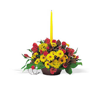 Harvest Centerpiece with Single Taper in Cohasset MA, ExoticFlowers.biz