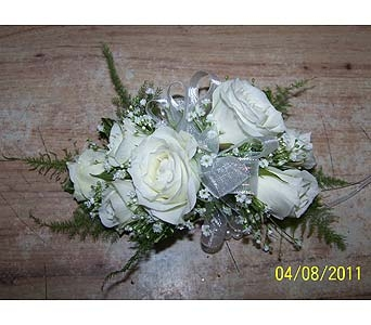 White Rose Wrist Corsage in Voorhees NJ, Nature's Gift Flower Shop