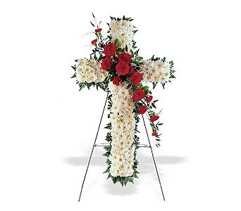 Traditional Red & White Floral Cross in Cohasset MA, ExoticFlowers.biz