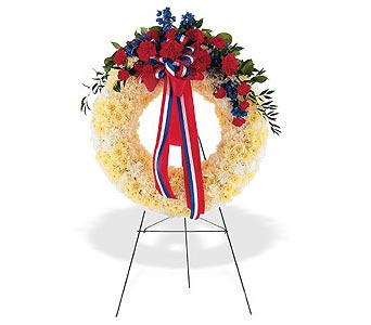 Patriotic Sympathy Floral Wreath in Cohasset MA, ExoticFlowers.biz