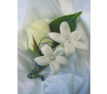 White Rose Stephanotis Boutonniere in West Bloomfield MI, Happiness is...Flowers & Gifts