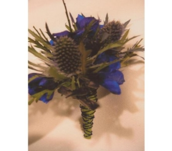 Thistle and Blue Delphinium Boutonniere in West Bloomfield MI, Happiness is...Flowers & Gifts