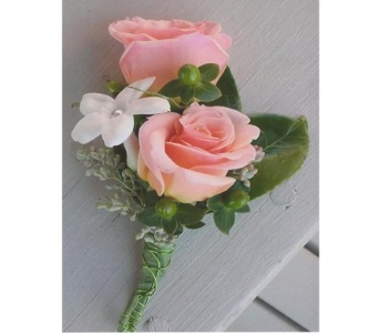 Mini Roses and Stephanotis Boutonniere in West Bloomfield MI, Happiness is...Flowers & Gifts