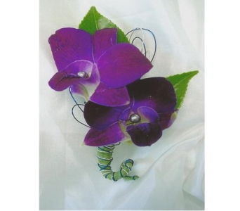 Variegated Purple and White Dendrobium Boutonniere in West Bloomfield MI, Happiness is...Flowers & Gifts