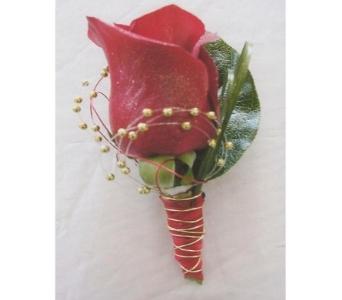 Red Rose with Gold Pearl Spray Boutonniere in West Bloomfield MI, Happiness is...Flowers & Gifts