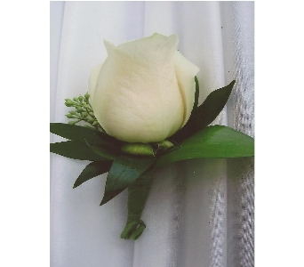 White Rose Boutonniere in West Bloomfield MI, Happiness is...Flowers & Gifts