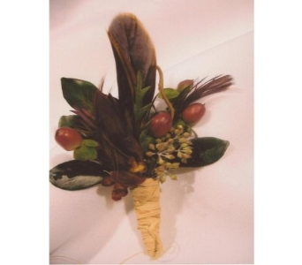 Pheasant Feathers and Hypericum Boutonniere in West Bloomfield MI, Happiness is...Flowers & Gifts