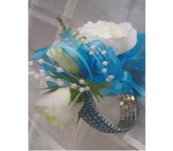 White Sweetheart Roses with Rhinestone Bracelet Co in West Bloomfield MI, Happiness is...Flowers & Gifts