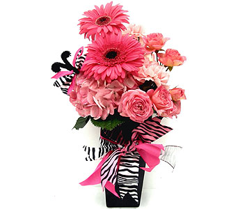 FF125 ''Zebra in Pink'' Flower Bouquet in Oklahoma City OK, Array of Flowers & Gifts