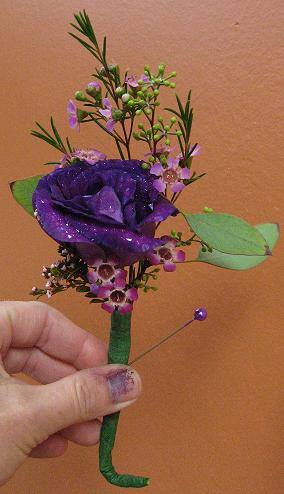 Purple Rose Boutonniere in Guelph ON, Patti's Flower Boutique