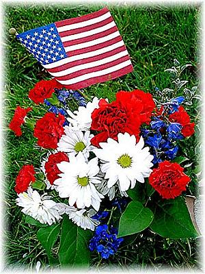 Mixed Patriotic Graveside Flowers in Eugene OR, Dandelions Flowers