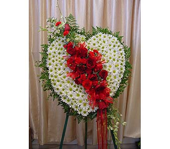 Red & White Heart in Orange CA, Main Street Florist