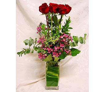 Red Roses in Square Vase in Lake Forest CA, Cheers Floral Creations