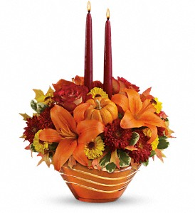 Teleflora's Amber Waves Centerpiece in Meadville PA, Cobblestone Cottage and Gardens LLC