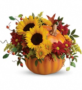 Teleflora's Pretty Pumpkin Bouquet in Charleston WV, Food Among The Flowers