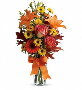 Burst of Autumn in Norwich NY, Pires Flower Basket, Inc.