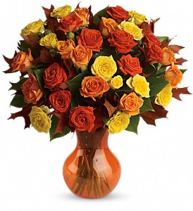 Teleflora's Fabulous Fall Roses in Grand Prairie TX, Deb's Flowers, Baskets & Stuff
